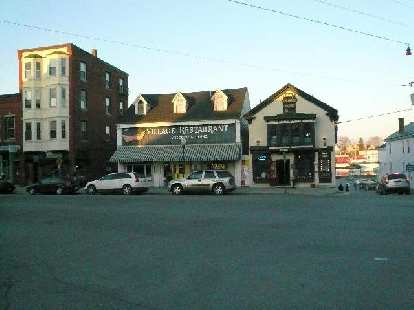The Village Restaurant and (on its right) Cappy's are favorite hangout spots for locals.