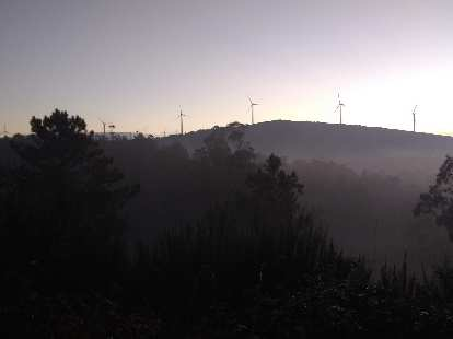 Windmills in the early morning as seen from the Camino de Fisterra.