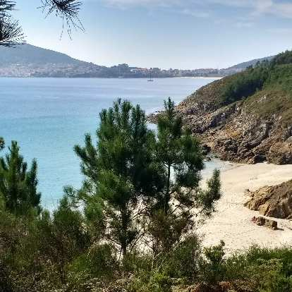 A beach a few miles from the official end of the Camino de Fisterra.