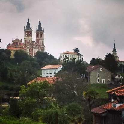 A church on a hill in Còbreces, Spain.