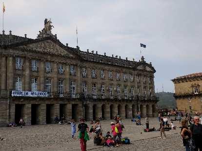 The Pazo de Raxoi (Raxoi Palace) across the square facing the Cathedral of Santiago de Compostela.