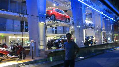 Katia and I encountered this Peugeot showroom (not off the Champs-Elys̩es) during one of our walks in Paris at night.