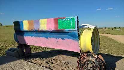 Colorful bench at Carhenge.