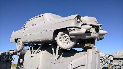 Grey Cadillac coupe at Carhenge.