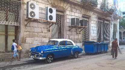 Blue 1950s Chevrolet Fleetline sedan with white top in Havana, Cuba.