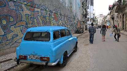 A powder blue Skoda Octavia Combi, later version, in Havana, Cuba. It was manufactured from 1967 to 1971.