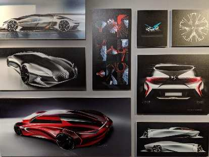 Concept car drawings inside the DS Automobiles showroom on Rue François 1er, a couple blocks off the Champs-Élysées.