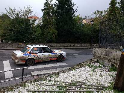 A white mid-1980s BMW 3-series coupe that was converted into a rally car and raced on the streets of northern SPain.