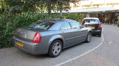 A Chrysler 300 outside our hotel in Amsterdam.