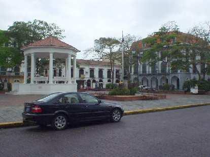 BMW 3-series sedan in the trendy/historic Casco Viejo (San Felipe) area of Panama City.
