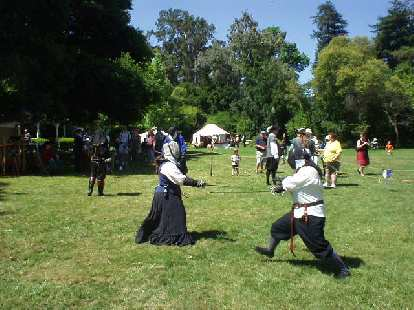 Some people fencing.  There were actually lots of people doing so at the festival.