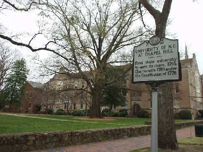 As with Raleigh and Durham, there is a bit of history for Chapel Hill.  This sign notes that UNC was the first state university to open its doors in the U.S. (1795).