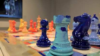 blue vs. orange chess board, World Chess Hall of Fame