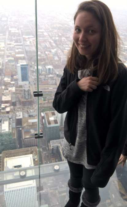 Maureen inside the Skydeck at the top of Willis Tower.