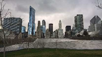 Chicago Skyline as viewed from Maggie Daley Park.