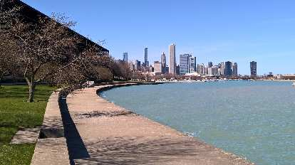 The Chicago skyline as seen from the Lakefront Trail.