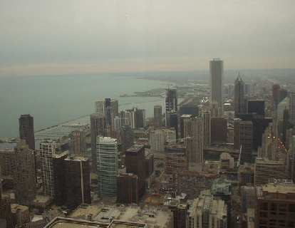 ... and the Chicago skyline to the south.