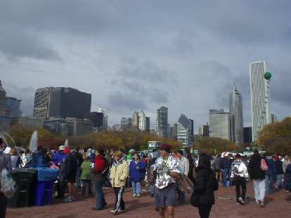 The Chicago skyline beyond the finish line of the Chicago Marathon.