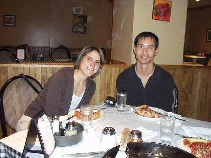 Kathrin and Felix Wong with some Chicago deep-dish pizza at Pizzeria Ora.