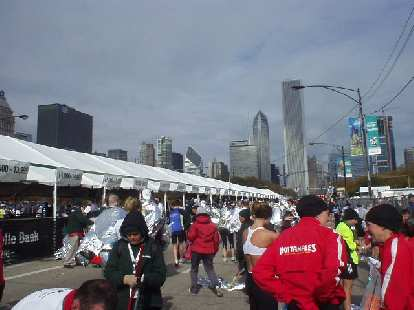 The tents beyond the finish line.