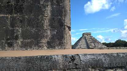 El Castillo step pyramid as seen from the ball court of Chichén Itzá