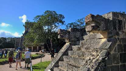 Two serpent's heads, east entrance to the Ball Court, Chichén Itzá