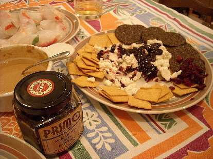 Crackers with goat cheese and loganberry ancho preserves.  OK, this is not really Chinese either.
