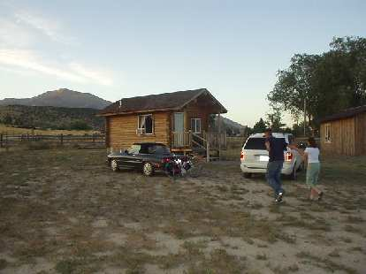 The rustic log cabin that we stayed in at the Almo Creek Outpost.