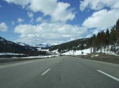 There is still lots of snow in the mountains near Vail, CO, which is west of Summit County.