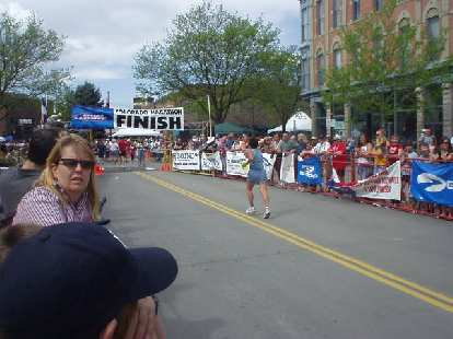 Chris coming into the finish in Old Town Fort Collins.
