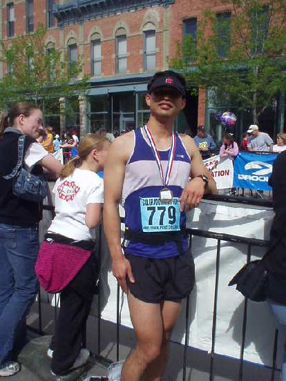 Felix Wong at the finish.  This was a very fun marathon... really scenic too.