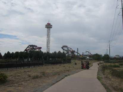 [Day 1, Mile 70, 11:56 a.m.] Elitch's Gardens & Amusement Park.