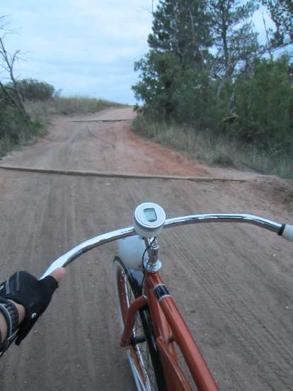 [Day 1, Mile 140, 7:51 p.m.] On one of the steeper portions of the New Santa Fe Trail.  I had to dismount and walk once on Day #1.