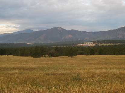[Day 2, Mile 165, 7:02 a.m.] The mountains west of Colorado Springs, including Pikes Peak.
