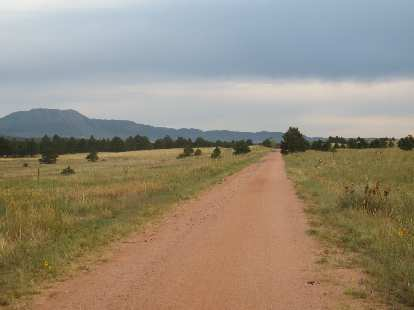 [Day 2, Mile 165, 7:03 a.m.] Riding along the New Santa Fe Trail.