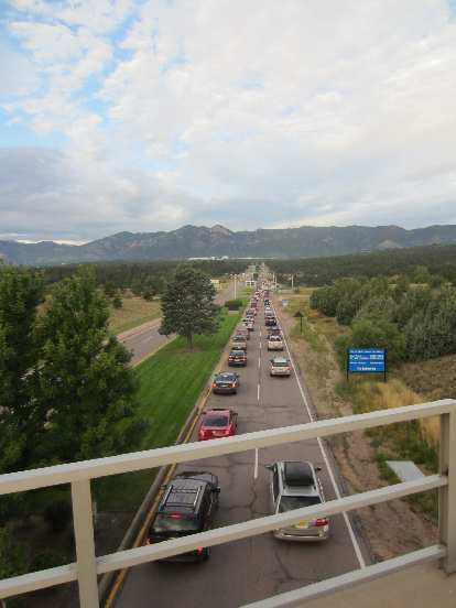 [Day 2, Mile 167, 7:14 a.m.] Commuter traffic in Colorado Springs.