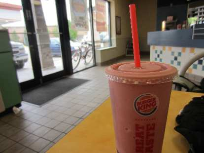 [Day 2, Mile 203, 10:51 a.m.] Stopping at a Burger King for a large smoothie.
