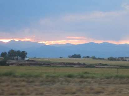 [Day 2, Mile 274, 7:21 p.m.] Enjoying a nice sunset over the Front Range from Loveland.