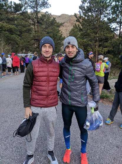 Carl and Antxon in the starting area of the 2019 Colorado Marathon.