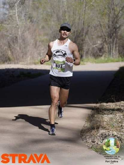 Felix Wong on the Poudre Trail with only a mile or two to go in the 2019 Colorado Marathon.