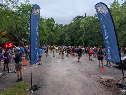 The start area of the Conquer the Cove Trail Marathon in Roanoke, Virginia.
