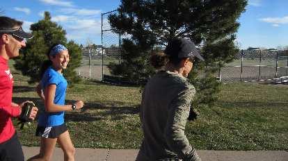 Dan, daughter Talia, and Connie begin their run.