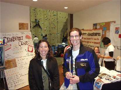 Michele dropped by and we got to talk about everything from ice climbing to paragliding.  Here she is with Sharon.