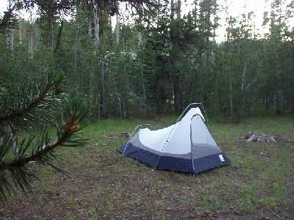 The Mawama Campgrounds were pretty posh, relatively speaking, with showers and laundry machines available.  By this time I was able to set up my trusty Sierra Designs Clip Flashlight CD in 5 minutes flat.