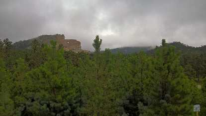 pine trees, Crazy Horse Memorial, grey clouds