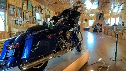 Harley Cruiser-Davidson bike inside Crazy Horse Memorial Visitor Center