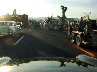 """When leaving the Dalles, Elaina and I even joined in the cruise for a lap of downtown.  Here are some people waving and saying, """"Look... an Alfa Romeo!"""""""