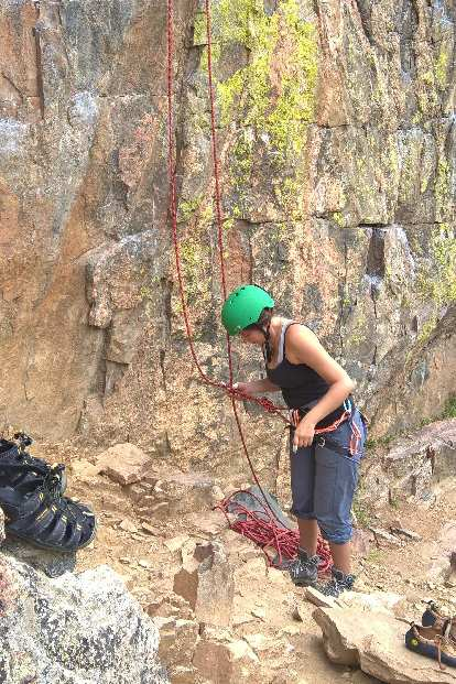 Diana ready to go up Clean-Up on Aisle 9 (5.9-) on Crystal Wall in the Poudre Canyon.
