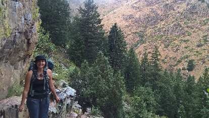 Diana with The Palace in the Poudre Canyon in the background.