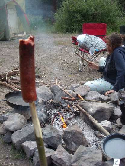 Roasting a wiener.